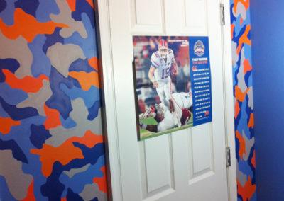 UF University of Florida Gators blue and orange camouflage mural in Leesburg VA