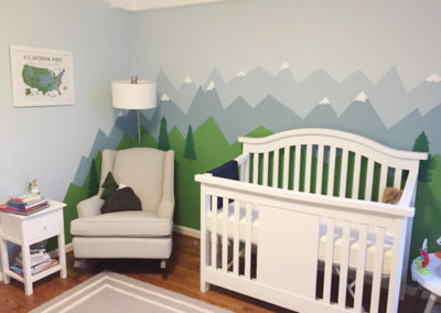 Whimsical mountain landscape mural for nursery in Washington DC
