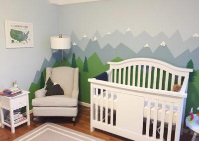Whimsical mountain landscape mural for nursery in Washington DC