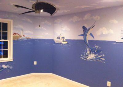 Mural with sport fishing sailfish and boats in Falls Church, VA