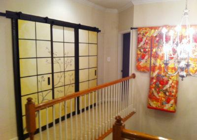 Barn doors painted to look like Japanese Shoji screens in Northern VA