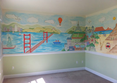 Travel themed Mural with Statue of Liberty Golden Gate bridge and Africa in Silver Spring, MD