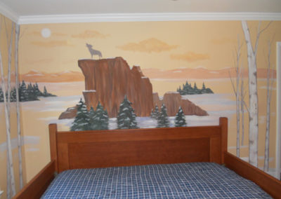 snowy moutain landscape with wolves and trees mural in Springfield VA