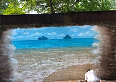Outdoor beach mural on brick in Alexandria VA