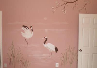 Mural wtih Japanese red-crowned crane VA MD