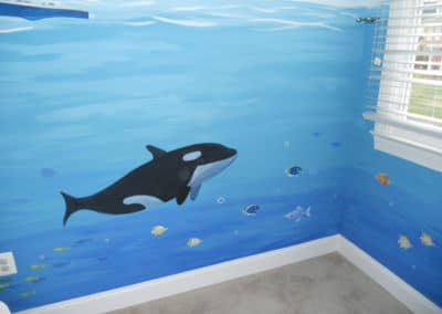 ocean mural with Orca killer whale and fish in VA Virginia